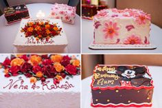 This couple had two wedding cakes AND a birthday cake! Loving all of the vibrant colors