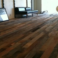 Up-cycled barn wood floors! Love the rustic, homey feel of our new floors!!!!