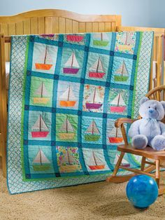 Quilting - Patterns for Children & Babies - Pieced Quilt Patterns - Toy Boat Regatta Ocean Quilt, Beach Quilt, Quilting Projects, Sewing Projects, Sewing Ideas, Nautical Quilt, Nautical Baby, Nautical Theme, Baby Quilt Patterns