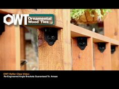 OZCO Ornamental Wood Ties (OWT) 4 in. Rafter Clips Ironwood are manufactured with pre-galvanized steel and finished with a black powder coating offering superior corrosion resistance and ultimate strength. Curved Pergola, Modern Pergola, Pergola Attached To House, Pergola Swing, Pergola Shade, Pergola Kits, Pergola Plans, Pergola Ideas, Backyard Ideas