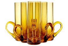 1960s Tall Amber Shot Glasses, S/6