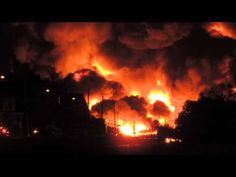 """Huge fire erupts in Lac-Mégantic, QC, Canada, as an oil train derails. All of downtown is burning right now"""