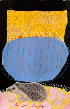 painting hedgehog blue original on paper acrylic fine by eeliethel, $40.00