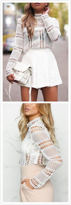 Bring attention to this blouse, it is in fashion and sexy style, it ensure all eyes will on you when you in it. It is adorned with crew neck, long sleeves, lace design and hollow design. Pair it with high waist jeans will be perfect!!!