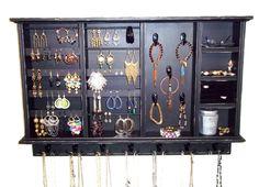 Jewelry Organizer, Organizer, Jewelry Holder, Earring Holder. Ring Holder, Jewelry Display Furniture Shabby n chic. $127.00, via Etsy.