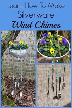How to make silverware wind chimes out of commonly found thrift store items! This simple tutorial takes you step by step into repurposing vintage silverware into an inexpensive and fun piece of garden art. #thrift #upcycling #upcycled #repurposed #junkgardening #thriftstoredecor