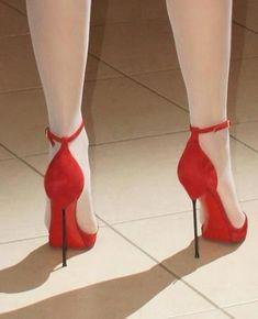 The pleasure of high Heels: Red high heels white pantyhose Hot Heels, Sexy High Heels, Extreme High Heels, Beautiful High Heels, Platform High Heels, High Heels Stilettos, High Heel Boots, Heeled Boots, Pantyhose Heels