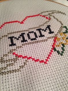 Finished MOM tattoo cross stitch Mother's Day by CrossStitchedSass #Etsy #crossstitch