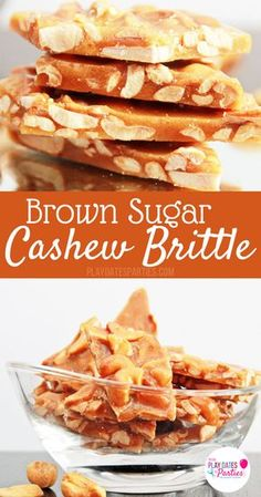 Brown Sugar Cashew Brittle: If you like peanut brittle, you will LOVE this for brown sugar cashew brittle. It is perfectly crunchy and sweet, with amazing hints of toffee and vanilla. Perfect for the or any special occasion. Candy Recipes, Sweet Recipes, Holiday Recipes, Dessert Recipes, Nut Recipes, Cashew Brittle, Peanut Brittle Recipe Without Corn Syrup, Cake Candy, Sugar Candy