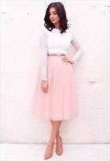 High Waisted Tulle Midi Skirt in Dusky Pink