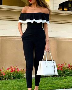Women Off Shoulder Colorblock Ruffles Bodycon Jumpsuit Skinny Streetwear Trends Slim Fit Black Jumpsuits Bodycon Jumpsuit, Ruffle Jumpsuit, Jumpsuit With Sleeves, Printed Jumpsuit, Black Jumpsuit, Off Shoulder Jumpsuit, Sparkly Jumpsuit, Leather Jumpsuit, Jumpsuit Dressy