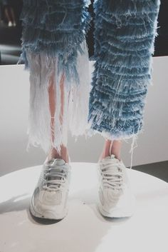 Faustine Steinmetz is part of Denim fashion - Ripped and remixed double denim gets a crafty, girly makeover thanks to one of fashion's rising stars Fringe Fashion, Blue Fashion, Denim Fashion, Look Fashion, Fashion Art, High Fashion, Fashion Outfits, Womens Fashion, Fashion Design