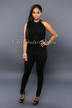 Chic Couture Online - Empire Black Draped Fringe Jumpsuit, $55.00 (http://www.chiccoutureonline.com/empire-black-draped-fringe-jumpsuit/)