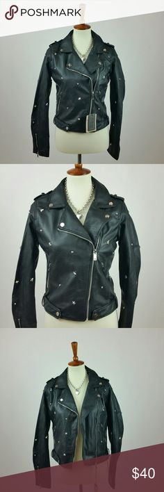 """Black vegan leather embellished jacket Quality silky red lined black vegan leather jacket!  Great details, zippers and bling!  Necklace not included.  Small: 17.5"""" front length neck down 21"""" back collar to hem 18"""" chest laying flat 16"""" hip area, base of jacket 25"""" sleeve shoulder to hem  Medium: 18"""" front length neck down 22"""" back collar to hem 19"""" chest laying flat 17"""" hip area, base of jacket 25"""" sleeve shoulder to hem   All measurements taken laying flat. Jackets & Coats Utility Jackets"""