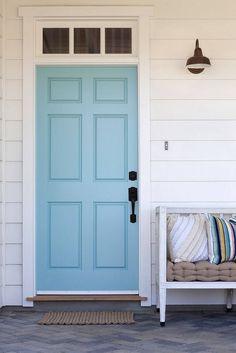 Front Door - Benjamin Moore, Tranquil Blue l Beach Home Exteriors l www.DreamBuildersOBX.com