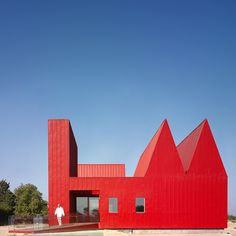 You can't miss this bright red psychiatric centre in Spain