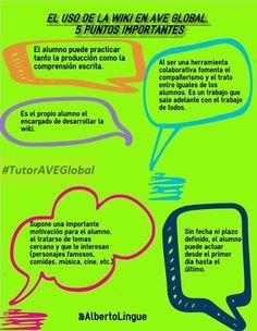 Etiqueta #TutorAVEGlobal en Twitter. % puntos importante a tener en cuenta en el uso de la wiki en el AVE Global. De @AlbertoLingue