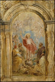 The Glorification of the Eucharist // ca. 1630–32 // Peter Paul Rubens // This oil sketch is Rubens's design for an altarpiece ensemble in the church of the Calced Carmelites in Antwerp, which was executed in 1637–38 by the painter Gerard Seghers and the sculptor Hans van Mildert. The risen Christ triumphs over sin and death (the snake and skeleton), and is flanked (left to right) by #Melchizedek, #Elijah, Saint Paul, and Saint Cyril of Alexandria, who were all associated with the…
