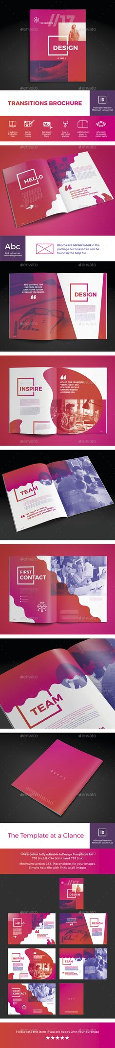 Transitions Brochure — InDesign INDD #graphics tablet #creative team • Download ➝ https://graphicriver.net/item/transitions-brochure/19478229?ref=pxcr