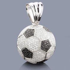 Soccer Jewelry: 18K Gold Diamond Soccer Ball Necklace