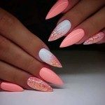 Pretty Ideas Of Colors for Nail Designs for Women 2019 - Nail Art - glitter nails summer Color For Nails, Nail Colors, Salmon Nails, Cute Nails, Pretty Nails, Nagel Blog, Best Acrylic Nails, Pointy Acrylic Nails, Short Stiletto Nails
