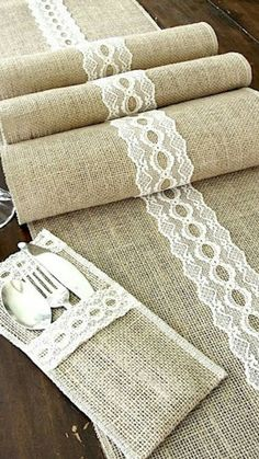 Rustic chic wedding Burlap table runner wedding table top with vintage ivory Italian lace , handmade in the USA #ad