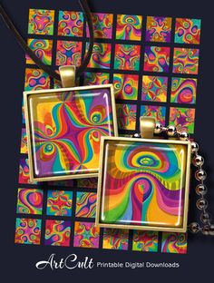 MAGIC RAINBOW TILES - Printable Digital Download 1x1 inch size images for glass or resin pendants / magnets/ bezel settings/ scrap-booking