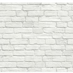 Seabrook Designs Distressed White Brick Wallpaper - The Home Depot Peelable Wallpaper, Paintable Wallpaper, White Wash Brick, White Brick Walls, Grey Brick, Faux Brick, Exposed Brick, White Brick Wallpaper, Textured Wallpaper