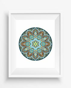 Mandala,Mandala Art Print,Zen, meditation,home decor,digital prints,floral mandala in ethnic style ,jpeg,instant dowload,Wall Printable