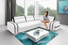 Corner Sofa Bed Avatar, Storage Container, Sleep Function, Pouffe Cabinet New