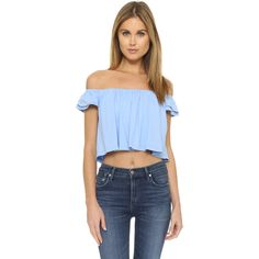 Susana Monaco Drapey Off the Shoulder Top ($115) ❤ liked on Polyvore featuring tops, vista, blue top, off shoulder short sleeve top, draped crop top, off shoulder crop top and drape top