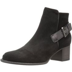 Aquatalia Women's Tate Suede/Calf Ankle Bootie featuring polyvore, women's fashion, shoes, boots, ankle booties, aquatalia by marvin k boots, stacked heel booties, block-heel boots, suede ankle booties and suede leather boots