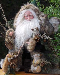 Stone Soup Santas made by Richard and Shelie McCall Primitive Santa, Primitive Christmas, Rustic Christmas, Christmas Art, Vintage Christmas, Christmas Holidays, Christmas Decorations, Primitive Crafts, Santa Doll