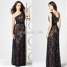 One-shoulder Formal Long Black Column Lace Bridesmaid Dress New Style Evening Gowns, Free shipping, $99.19-119.6/Piece | DHgate