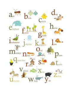Animal ABC Poster print - 11 X baby room wall decor. A great way to introduce your baby to the ABC's. A colorful alphabet print with original i Alphabet Wall Art, Alphabet Print, Abc Alphabet, Animal Alphabet, Alphabet And Numbers, Alphabet Posters, Abc Wall, Alphabet Design, Abc Poster