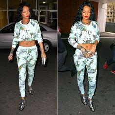 Rihanna wearing Zoe Karsson Paradise tropical print sweatshirt and sweatpants, Barbara Bui silver metallic oxford shoes, Chanel turquoise clutch.