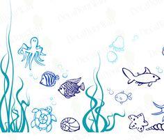 Under the sea Fish Wall Decals Nursery Children's by decalyourwall