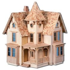 Greenleaf's standard version of the Fairfield dollhouse - Unpainted Front View