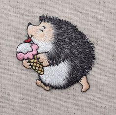 Hedgehog with Ice Cream Cone Iron on Applique High quality, detailed embroidery applique. Can be sewn or ironed on. Great for hats, bags, clothing, and more! Si
