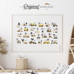 Yellow & Black Transportation Alphabet Fine Art Paper Print