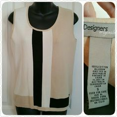 "Designer's Original 100% cotton knit top, EUC Size Small, 100% cotton knit sleeveless top.  White, tan, black in color.  17"" between armpits.  Worn once, EUC.  Perfect condition.  Versatile....great with pants, skirts, shorts. Designer's Original  Tops Crew & Scoop Necks"