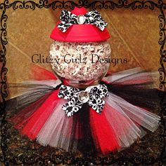 Faux tutu handmade gumball machine/ candy dish in red & black damask print!