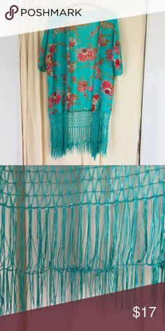Floral turquoise kimono beach cover up fringe! Absolutely love the color of this! OSFO EUC OBO Other