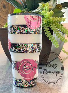 Quirky Flower Power Tumbler, Custom Glitter Tumbler, Black and White Stripes, Eco Friendly, Coffee Tumbler – Custom tumbler cups – New Epoxy Vinyl Crafts, Resin Crafts, Diy And Crafts, Glitter Crafts, Burlap Crafts, Burlap Projects, Glitter Projects, Glitter Art, Glitter Makeup