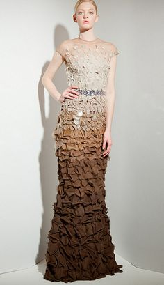 Nude and brown ruffled gown.