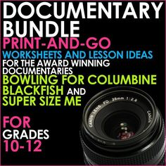 This is a bundle of lessons covering award-winning documentaries BLACKFISH, BOWLING FOR COLUMBINE and SUPER SIZE ME.  PLUS - two worksheets - one on Aristotle's Means of Persuasion, and one that introduces students to begin working on their own persuasive
