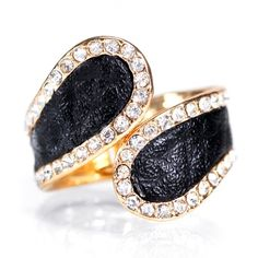Leather Diamond Cocktail Ring