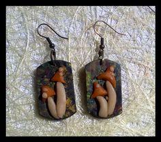 Polymer clay mushroom earrings