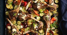 Greek vegetable and lamb tray bake. A complete low-cal family meal in one pan. Fragrant dried oregano adds delicious Greek flavour that& great with lamb. Tray Bake Recipes, Lamb Recipes, Meat Recipes, Cooking Recipes, Greek Vegetables, Veggies, 500 Calorie Dinners, Midweek Meals, Healthy Dinners