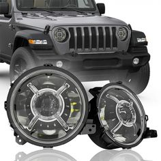 True LED headlights for Jeep Wrangler JL & JT Gladiator trucks. Unique design with DRL halos, and adjustable, better beam pattern and cutoff line, one of the easy upgrade accessories. Jeep Wrangler Bumpers, Jeep Wrangler Lifted, Jeep Wrangler Rubicon, Lifted Jeeps, Jeep Wrangler Accessories, Jeep Accessories, Headlight Cleaner Diy, Headlight Cleaning, Jeep Lights